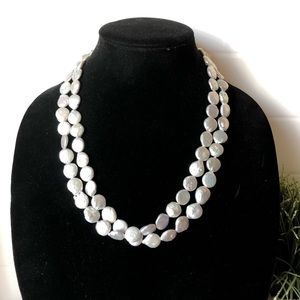 Peter Brams Coin Pearl Necklace Sterling